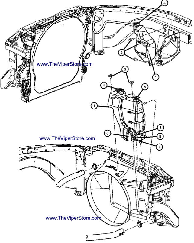 RAM SRT10 2004-2006 Factory Parts Diagrams Coolant Tank