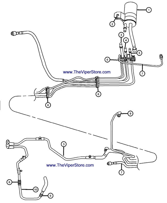 Viper 2003-2005 Factory Parts Diagram Fuel Lines and Filter