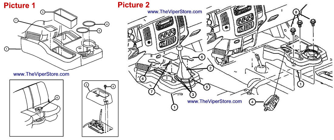 RAM SRT10 2004-2006 Factory Parts Diagrams Floor Console
