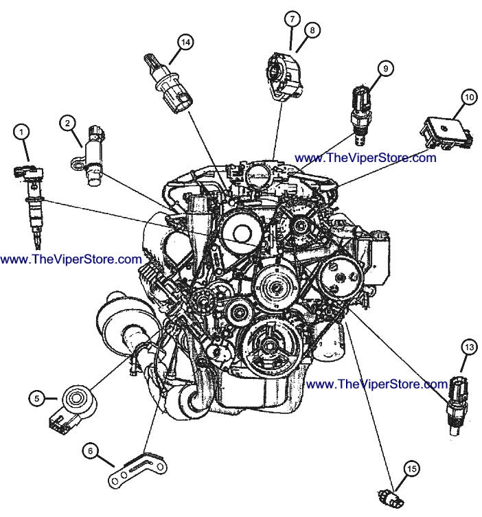 RAM SRT10 2004-2006 Factory Parts Diagrams Sensors Engine