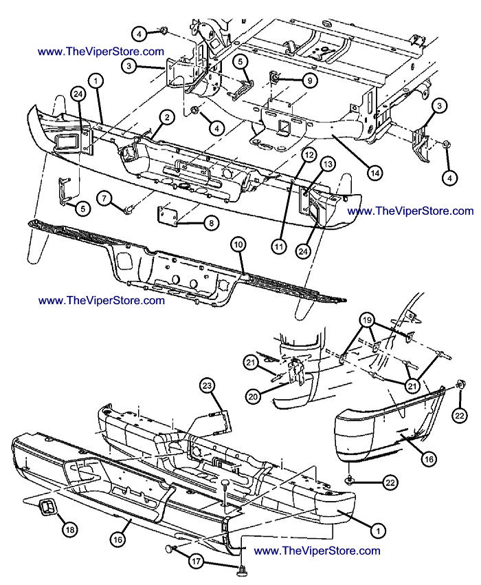 RAM SRT10 2004-2006 Factory Parts Diagrams Rear Bumper