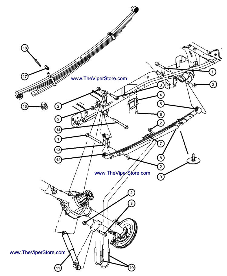 RAM SRT10 2004-2006 Factory Parts Diagrams Rear Suspension