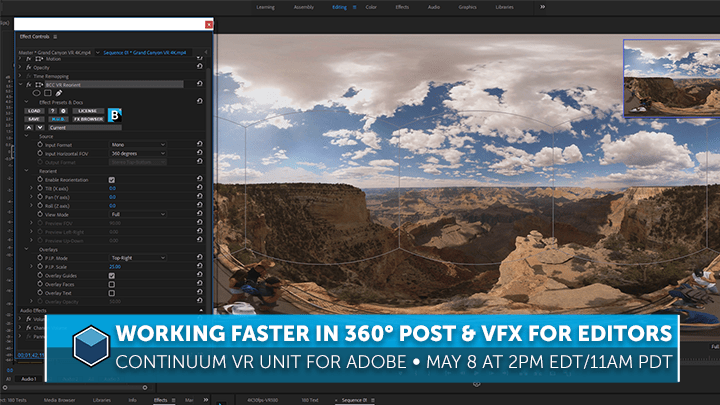 edit 360 vr videos premiere after effects continuum