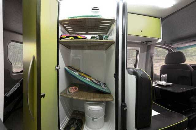 winnebago revel bathroom and gear closet
