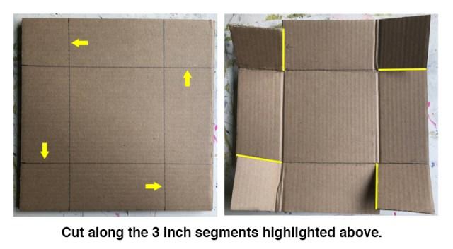 Cutting the cardboard to size