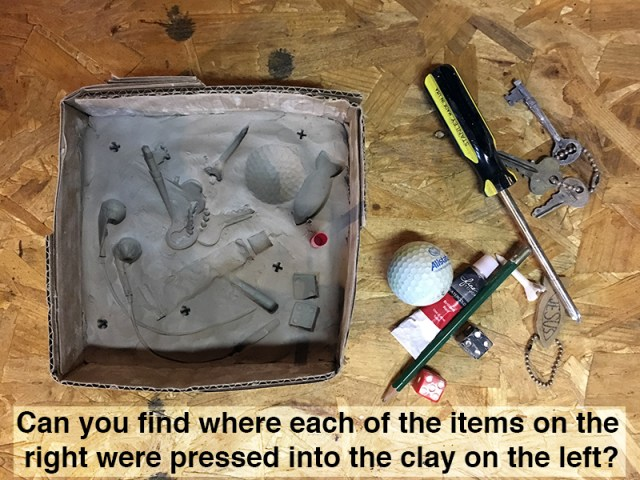 Clay mold created by pressing objects