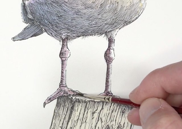 Painting the legs with watercolor
