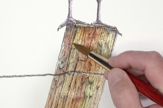 Painting the wooden post with watercolor washes