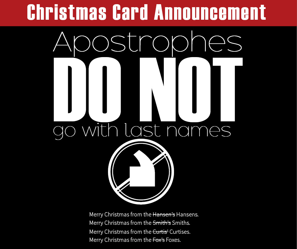 Christmas Card Announcement Apostrophes DO NOT Go With
