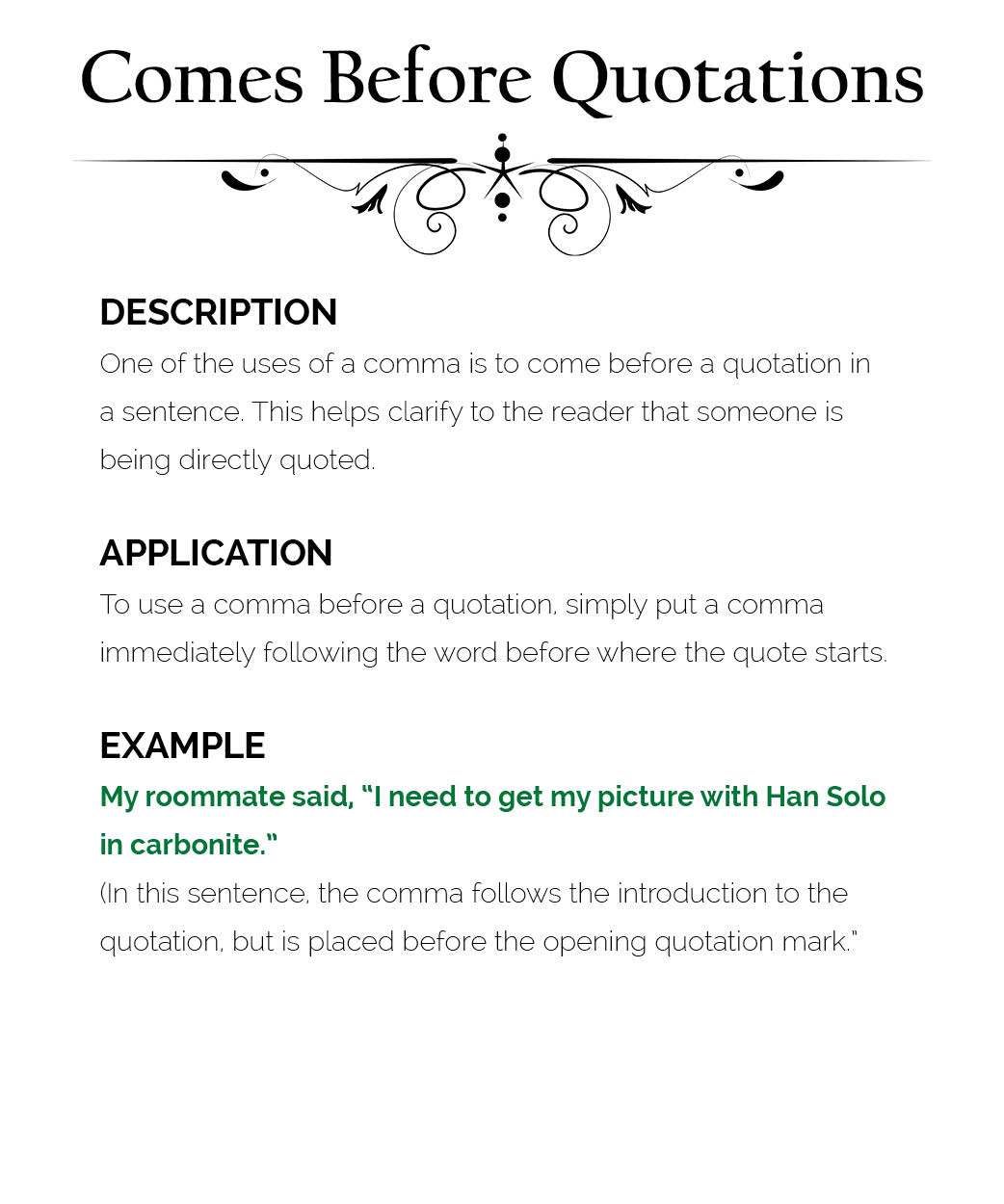 Comma Use 14 Comes Before Quotations The Visual