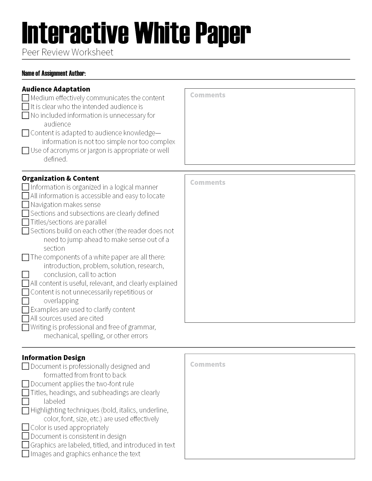 Interactive Peer Review Checklist The Visual