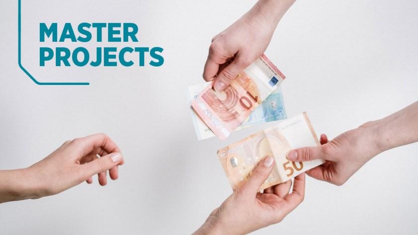 Two pairs of hands exchange euro bills