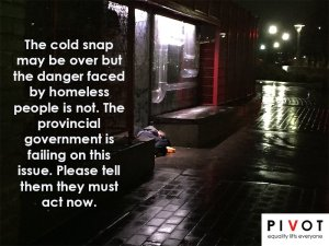 Picture for PIVOT Legal Society taken outside Creekside Community Centre after warming centres closed
