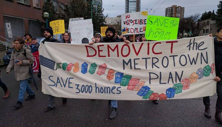 191211 REVAUX – Elections Burnaby_March against the Metrotown Plan_pic from AAD