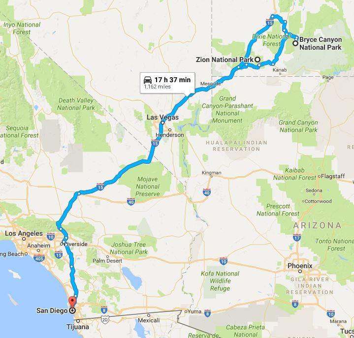 San Diego to Utah