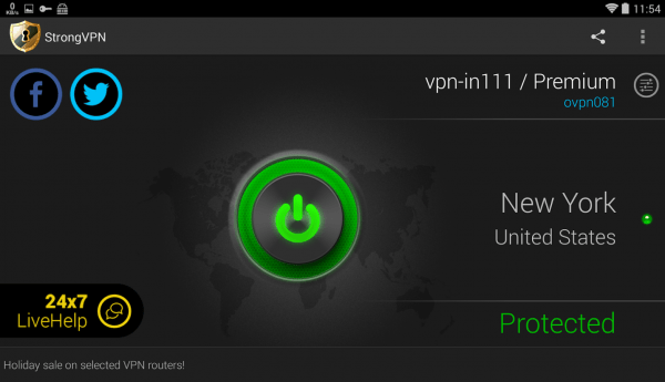 StrongVPN App's UI on Android