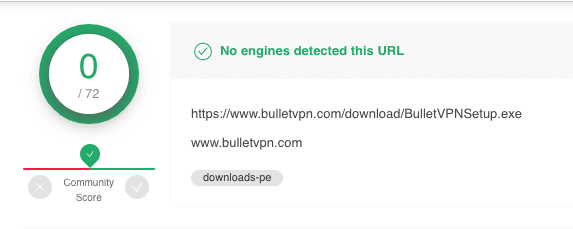 BulletVPN Virus Scan