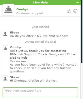 IPVanish Live Chat Support