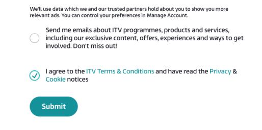 ITV Hub Agree and Sumbit
