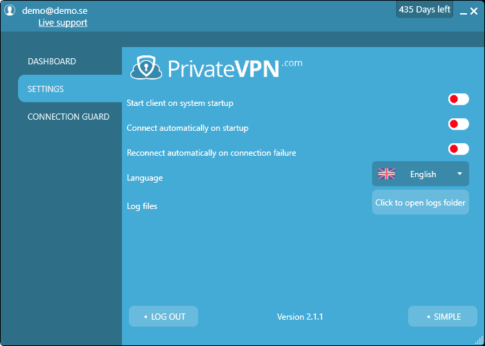 PrivateVPN's Windows Application