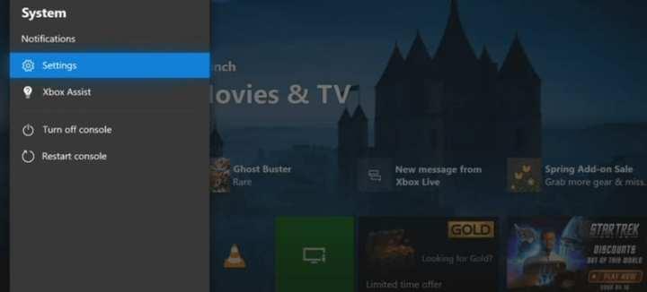 Settings Xbox One