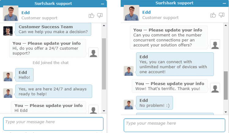 SurfShark Live Chat Feature