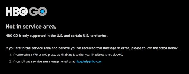 HBO GO Not in Service Area Error