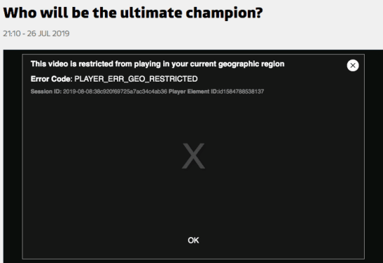 The Champions Error Message