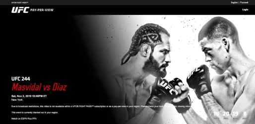 UFC 244 in the US