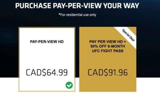 UFC Price in Canada