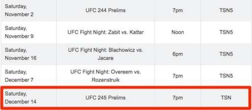 UFC 245 in Canada