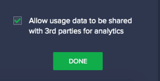 Allow usage Data