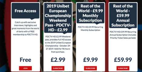 PDC TV Subscription