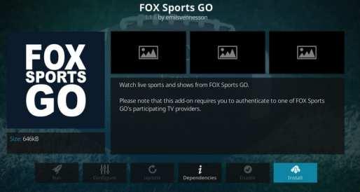 Click on Install Fox Sports Go