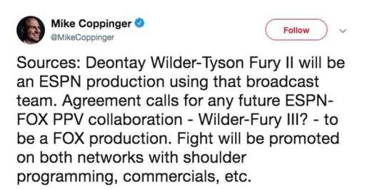 Fury vs. Wilder Tweet