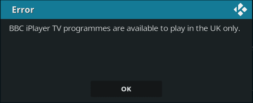 BBC iPlayer Error Kodi