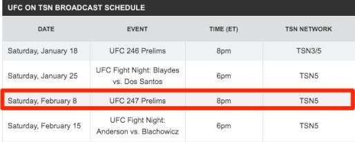 TSN UFC Schedule