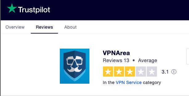 VPNArea Trustpilot