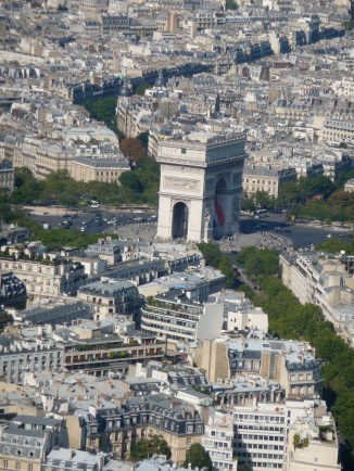 Views from the Eiffel Tower towards the Arc de Triomphe