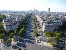 Views from the Arc de Triomphe towards the Grande Arche de la Defense