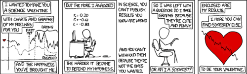 comic strip of Science Valentine by xkcd.