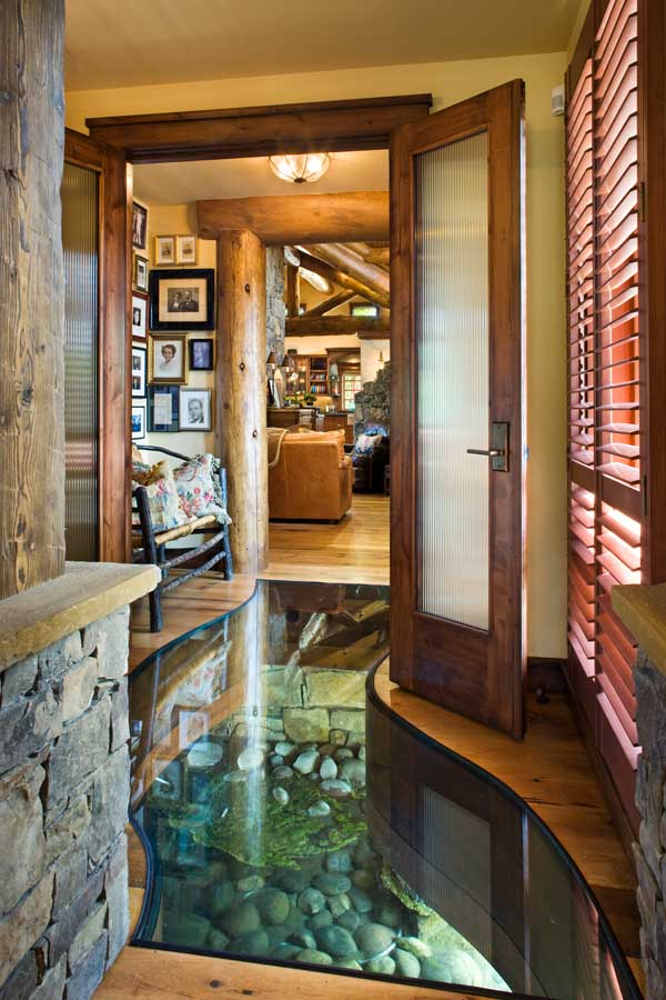 photo of Petersen Wyoming reclaimed timber home foyer
