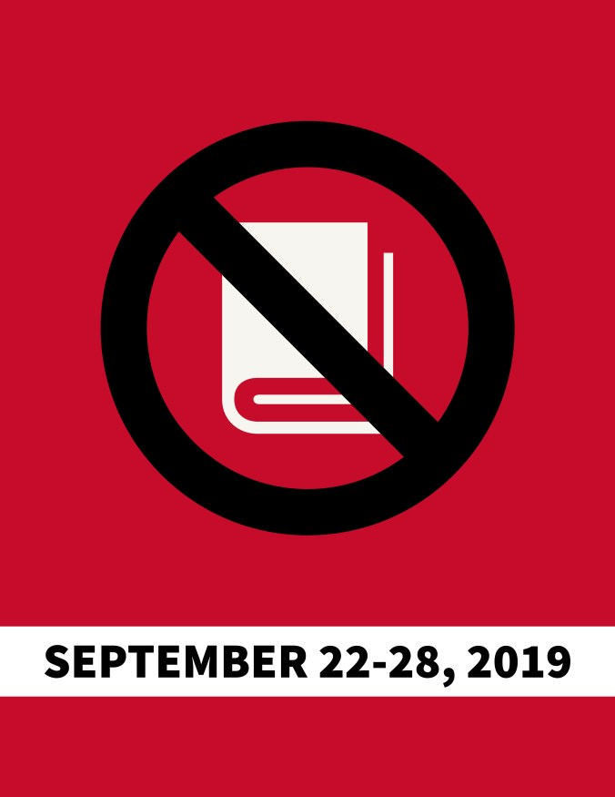 banned books flyer with text matching color of icon on flyer