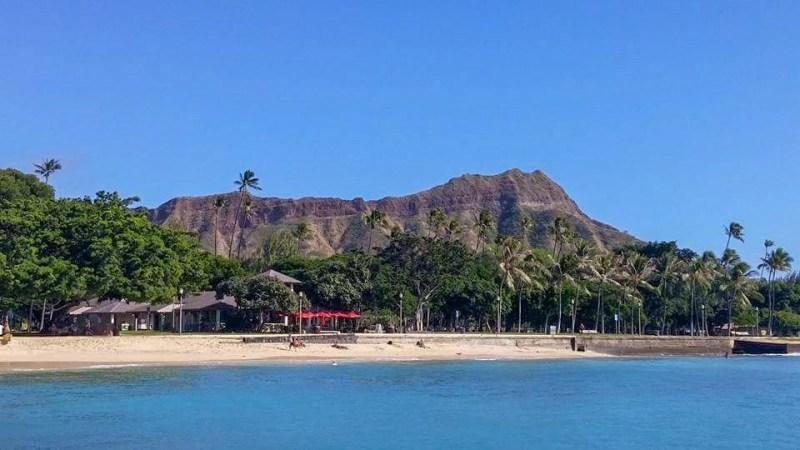 diamon head crater from the beach waikiki honolulu hawaii