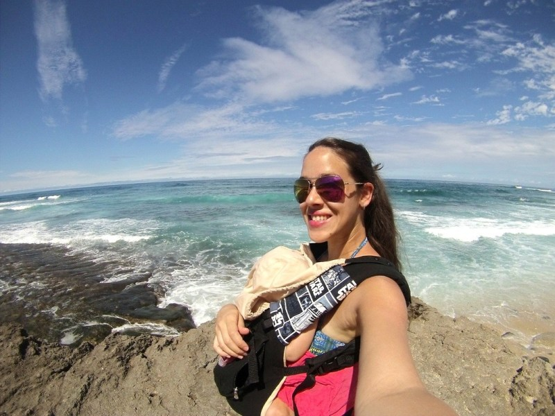 ergo baby carrier on north shore oahu hawaii
