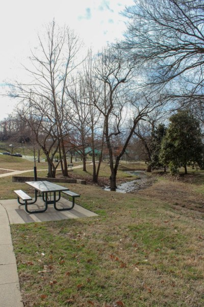 park bench picnic table stream park playground valley brook clarksville tennessee