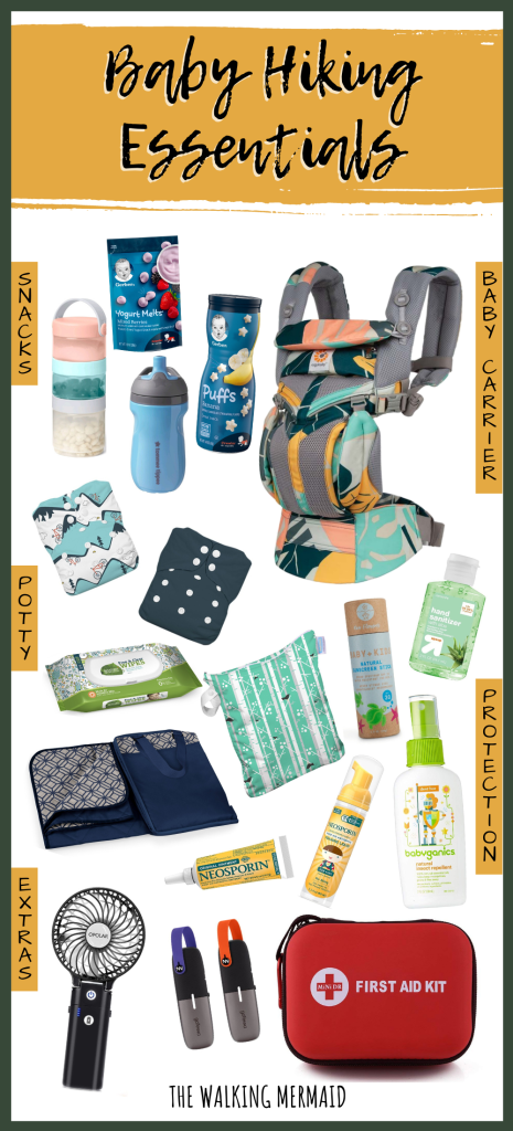 infographic packing list of baby hiking essentials