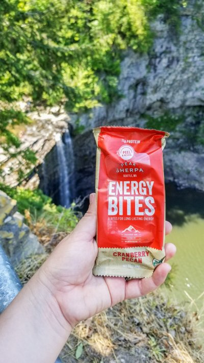 peak sherpa energy bites balls organic trail food snack waterfall holding over fall creek falls tennessee