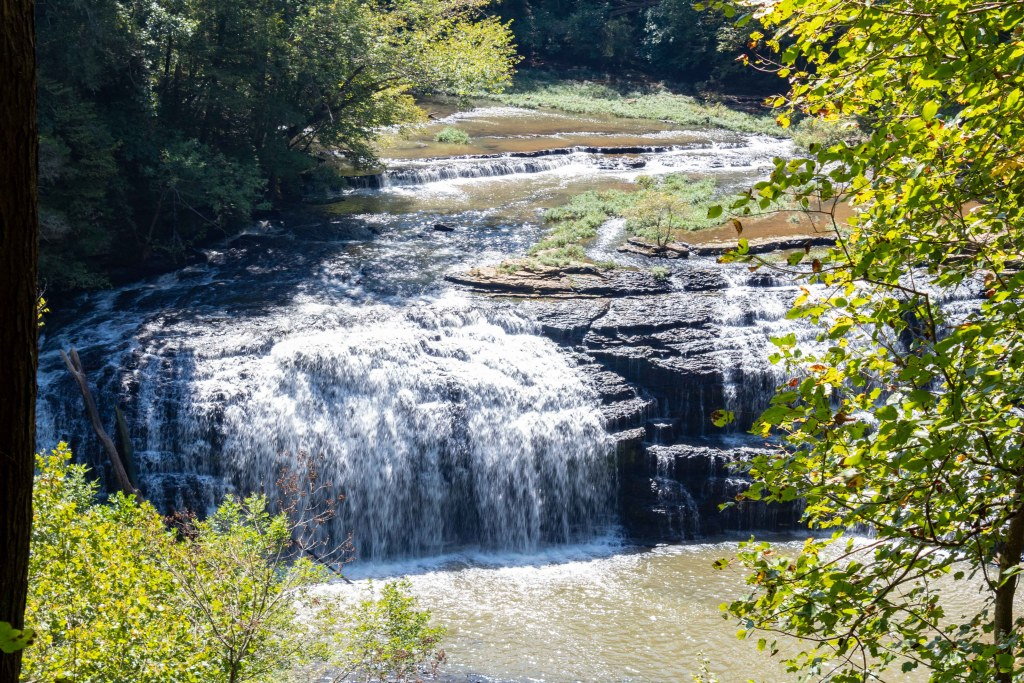 middle falls waterfall at burgess falls state park in tennessee overlook