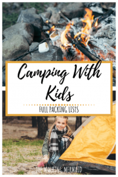 camping with kids collage overlay marshmallows on camp fire girls next to a tent